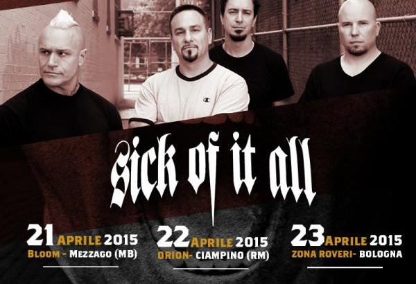 Tre date ad aprile per i SICK OF IT ALL