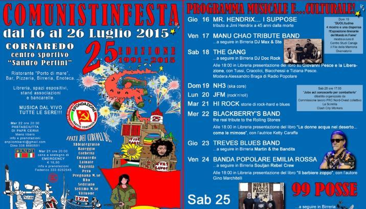COMUNISTINFESTA 2015, Cornaredo 25^ edizione