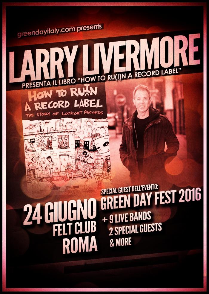Locandina Larry Livermore Green Day Fest